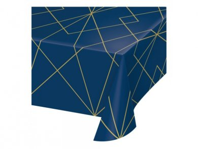 Birthday with Navy Blue and Gold Plastic Tablecover (137cm x 259cm)