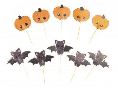 Γλυκιές Κολοκύθες και Νυχτερίδες Διακοσμητικές Οδοντογλυφίδες (10τμχ)