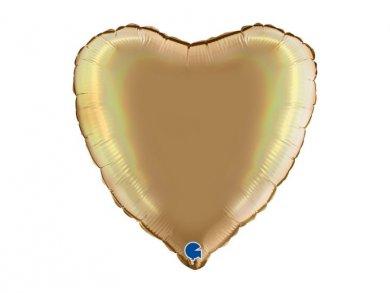 Χρυσό με Ολογραφικό Τύπωμα Μπαλόνι Καρδιά (46εκ)