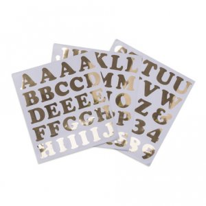 Letters & Numbers Gold Stickers Party Accessories