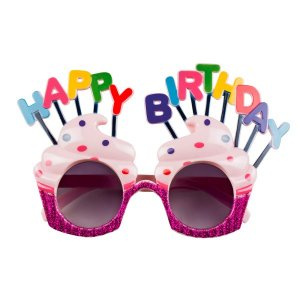 Happy Birthday Fuchsia Glitter Glasses