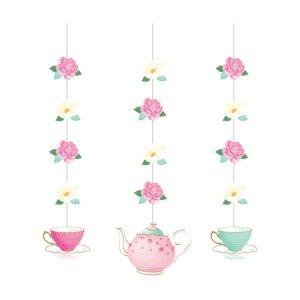 Floral Tea Party Hanging Decorations (3pcs)