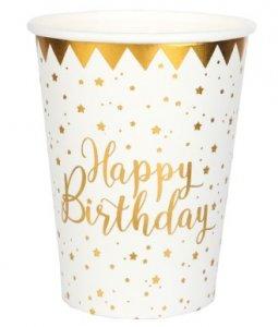 Happy Birthday Άσπρα Ποτήρια Χάρτινα με Χρυσοτυπία (10τμχ)