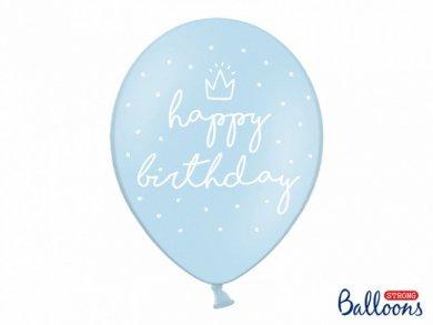 Happy Birthday Pale Blue Latex Balloons 6pcs