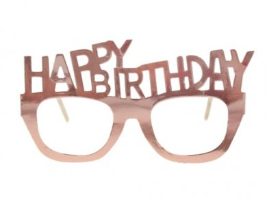 Happy  Birthday Ροζ Χρυσά Γυαλιά (4τμχ)