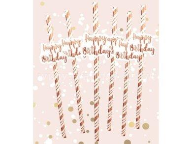 Happy Birthday Rose Gold Swirl Paper Straws (6pcs)