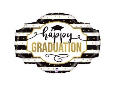 Happy Graduation Supershape Μπαλόνι με Μαυρόασπρες Ρίγες και Χρυσά Πουα (81εκ)