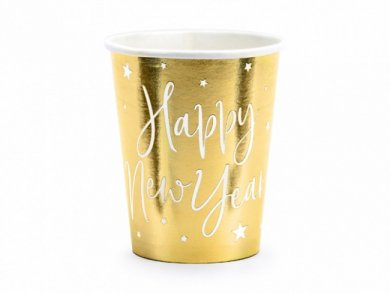 Happy New Year Gold Paper cups 6pcs