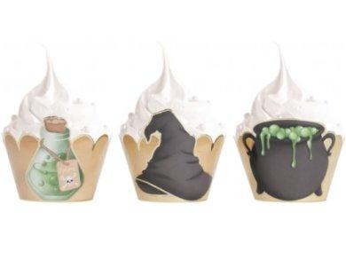 Harry Potter Διακοσμητικές Θήκες για Cupcakes με Χρυσοτυπία (6τμχ)
