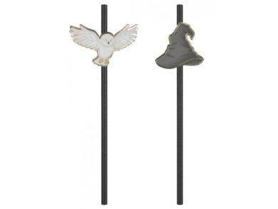 Harry Potter Μαύρα Καλαμάκια με Το Καπέλο του Μάγου και την Κουκουβάγια (10τμχ)