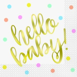 Hello Baby Gold Foiled Luncheon Napkins (16pcs)
