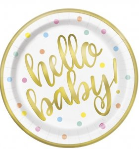Hello Baby Gold Foiled Large Paper Plates (8pcs)