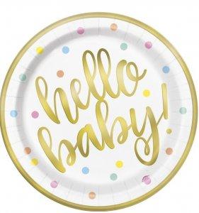 Hello Baby Μεγάλα Χάρτινα Πιάτα Με Χρυσοτυπία (8τμχ)