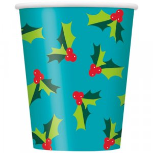 Holly Santa Paper Cups Party Supplies For Christmas