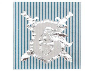 Silver Foiled Knight Beverage Napkins (20pcs)