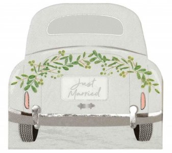 Just Married Car Shaped Luncheon Napkins (16pcs)