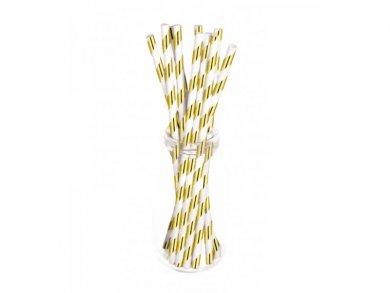 White and Gold Metallic Paper Straws (10pcs)