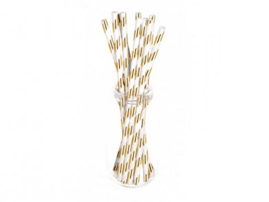 White and Rose Gold Metallic Paper Straws (10pcs)