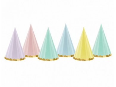 Party Hats in Pastel Colors (6pcs)