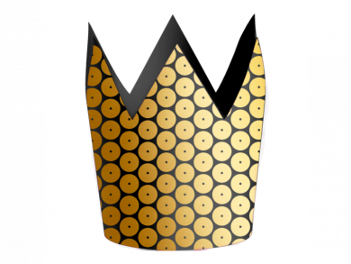 Crown Party Hats in Black with Gold Sequins Print 8pcs