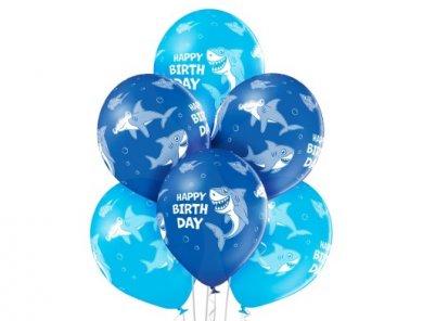 Shark Blue Latex Balloons (6pcs)