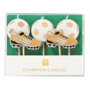 Cake Candles Gold Soccer Champion (5pcs)