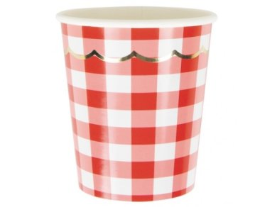 Red Gingham Paper Cups with Gold Foiled Details (8pcs)