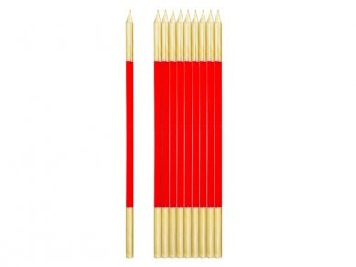 Red Extra Tall Cake Candles with Gold Finishing (10pcs)