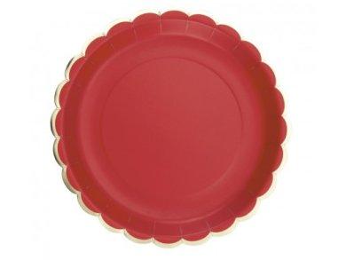 Κόκκινα Μεγάλα Πιάτα με Χρυσοτυπία (8τμχ)