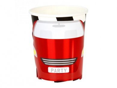 Red Race Car Paper Cups with Metallic Print (8pcs)