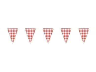Red Gingham with Gold Foiled Edging Flag Bunting (3m)