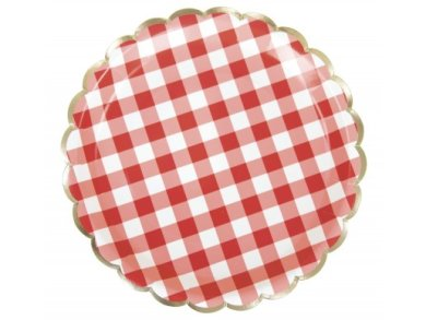 Red Gingham with Gold Foiled Edging Large Paper Plates (8pcs)