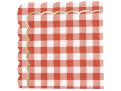 Red Gingham with Gold Foiled Details Luncheon Napkins (16pcs)