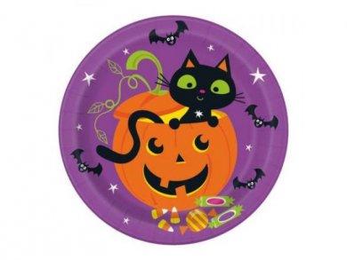 Pumpkin and Cat Large Paper Plates (8pcs)
