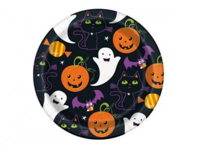 Pumpkin and Cat Small Paper Plates (8pcs)