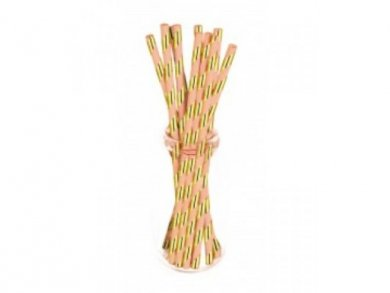 Coral Paper Straws with Gold Foiled Stripes (10pcs)