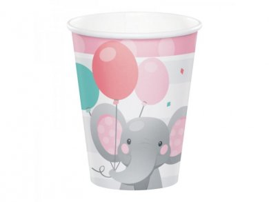Girl Elephant Paper Cups (8pcs)