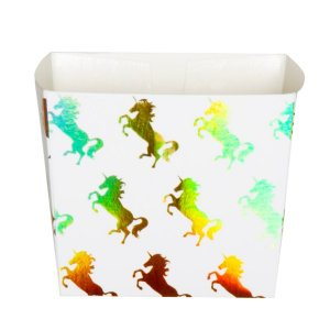 Paper Treat Boxes Gold Iridescent Unicorn (6pcs)