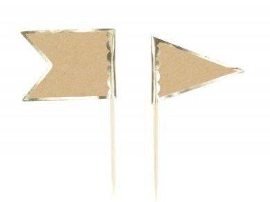 Κραφτ με Χρυσοτυπία Διακοσμητικές Οδοντογλυφίδες (10τμχ)