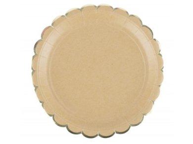 Κραφτ με Χρυσοτυπία Μεγάλα Χάρτινα Πιάτα (8τμχ)