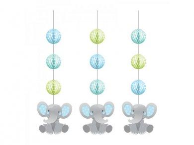 Boy Elephant Hanging Decorations (3pcs)