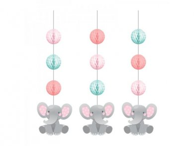 Girl Elephant Hanging Decorations (3pcs)