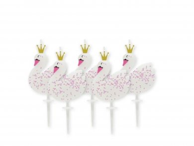 Swan with Iridescent Glitter Cake Candle (5pcs)