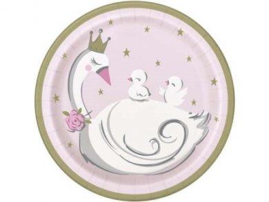 Κύκνος με Κορώνα Μικρά Χάρτινα Πιάτα (8τμχ)
