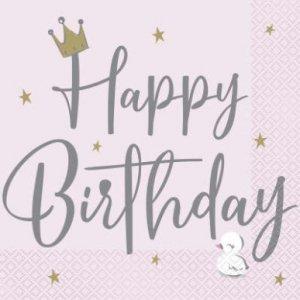 Κύκνος με Κορώνα Χαρτοπετσέτες για Γενέθλια (16τμχ)
