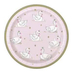 Swan Pink Large Paper Plates with Gold Details (8τμχ)