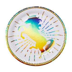 Gold Iridescent Unicorn Large Paper Plates (6pcs)