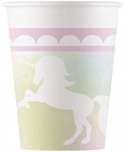 White Shadow Unicorn Paper Cups (8pcs)