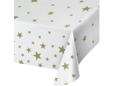 White Tablecover with Gold Stars (137cm x 274cm)