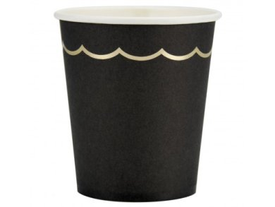 Black Paper Cups with Gold Foiled Edging (8pcs)